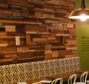 Reclaimed wood cafe feature wall custom fit out cafe